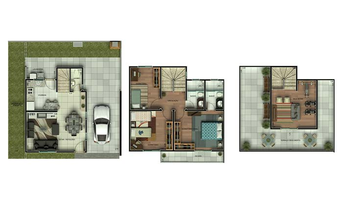 Planta de casa com 3 quartos e 3 pavimentos
