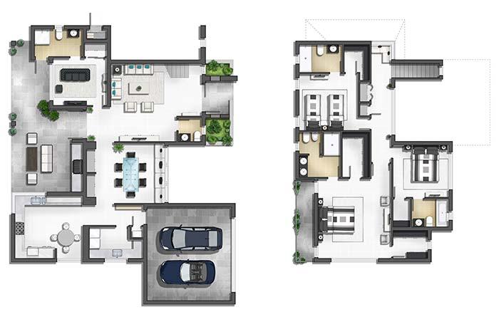 Planta de casa moderna de 3 quartos com suíte e closet