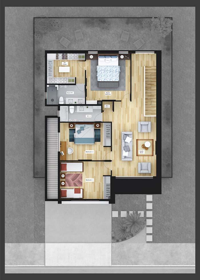 3 quartos no piso superior