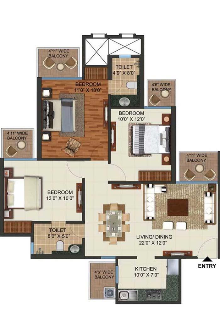 Planta de apartamento com 3 quartos e suíte