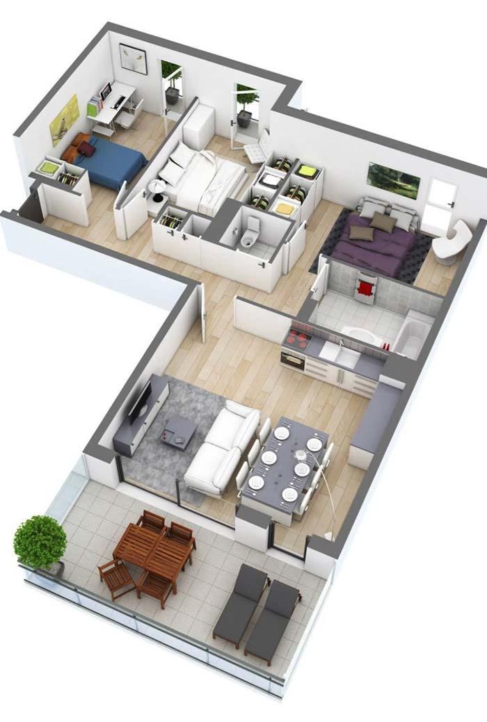 Planta de apartamento com 3 quartos 3D e ambientes integrados