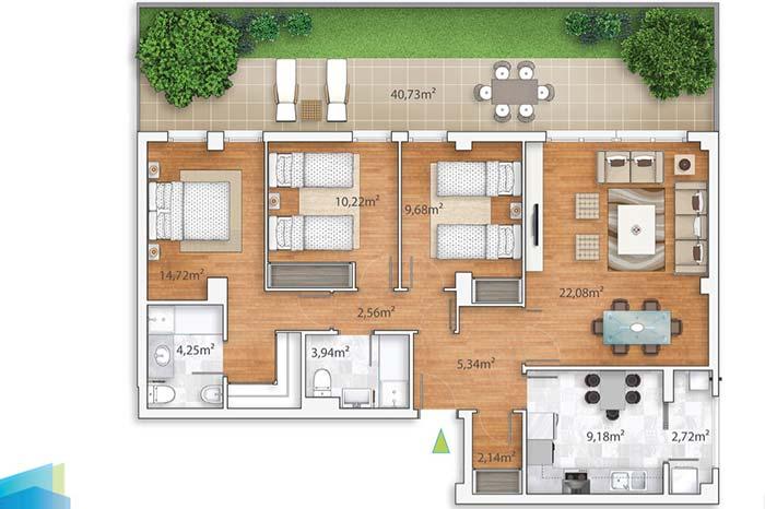 Varanda desse apartamento pega a frente de todos os quartos