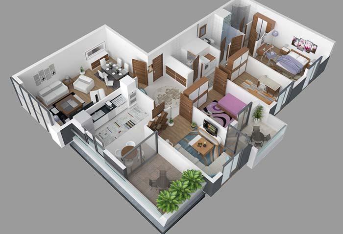 Planta de apartamento com três quartos e dois banheiros