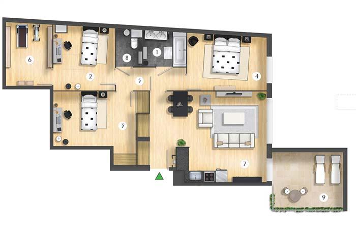 Planta de apartamento 3 quartos com cozinha americana