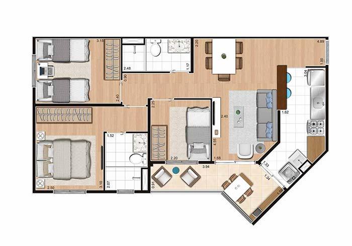 Planta de apartamento 3 quartos