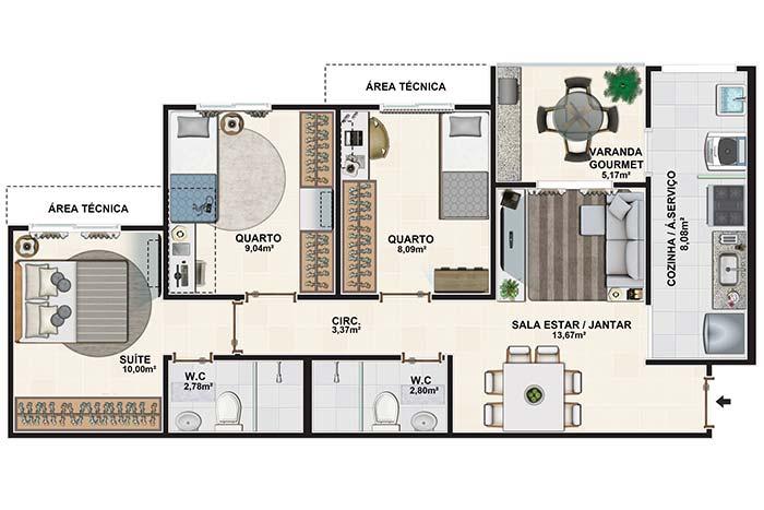 Planta de apartamento com três quartos, varanda gourmet e dois banheiros