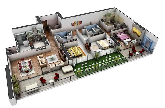 Planta de apartamento 3D com três quartos suítes