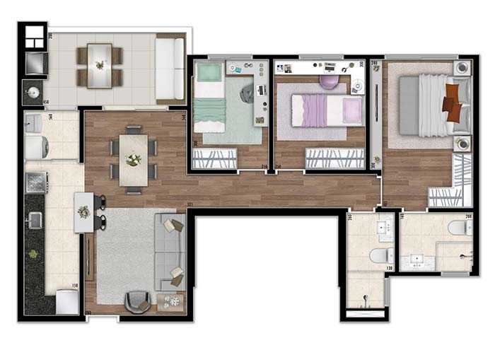 Planta de apartamento com três quartos de tamanhos diferentes
