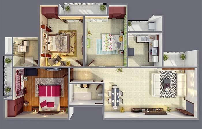 Plantas de casas com 3 quartos: veja 60 ideias de projetos modernos
