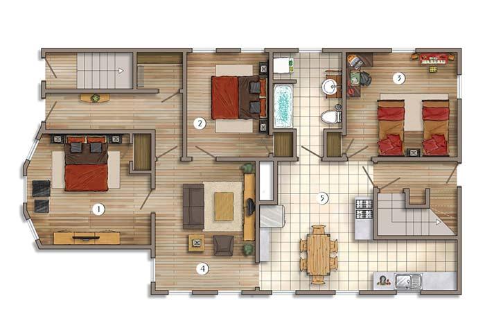 Nesse apartamento, cada quarto fica para um lado.