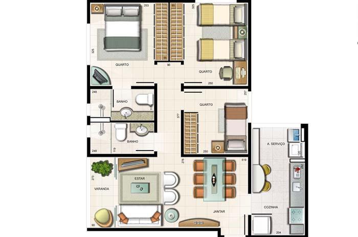 Tendência das plantas de apartamento atuais: uma suíte, dois quartos e demais ambientes integrados