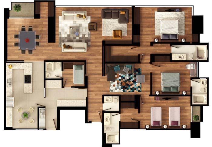 Planta de apartamento com 3 quartos e aposento para empregada