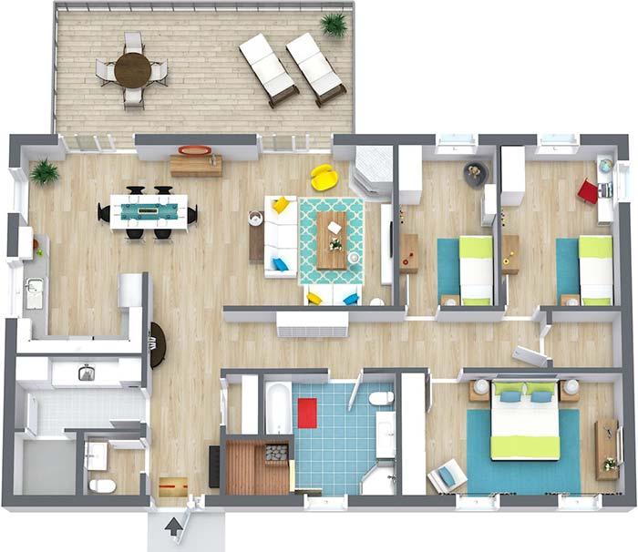 Planta de casa com 3 quartos e quarto ao fundo