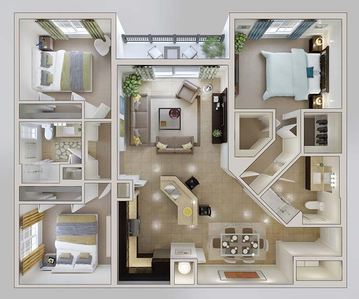 Planta de apartamento 3 quartos 3D com ambientes integrados