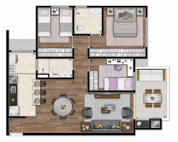 Planta de apartamento com cozinha americana, varanda ampla e 3 quartos