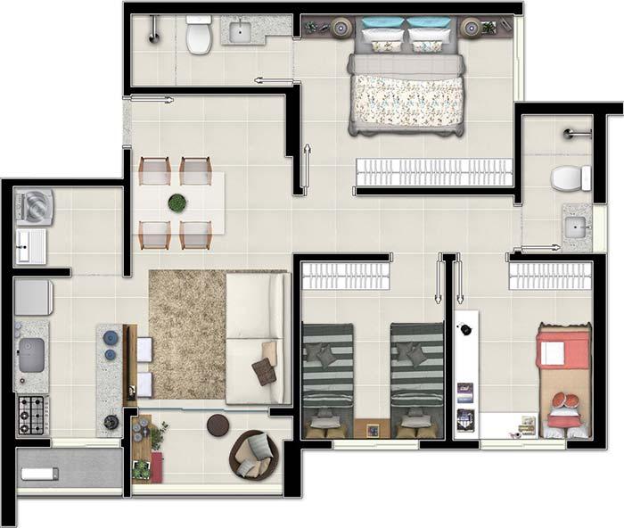 Planta de apartamento 3 quartos simples
