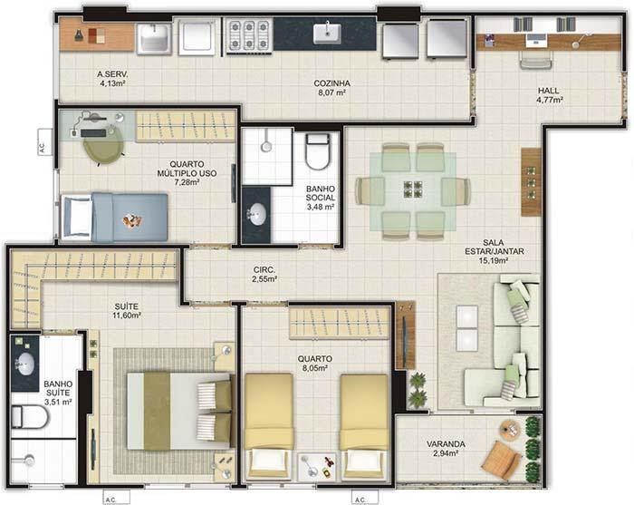 Planta de apartamento com dois quartos e uma suíte