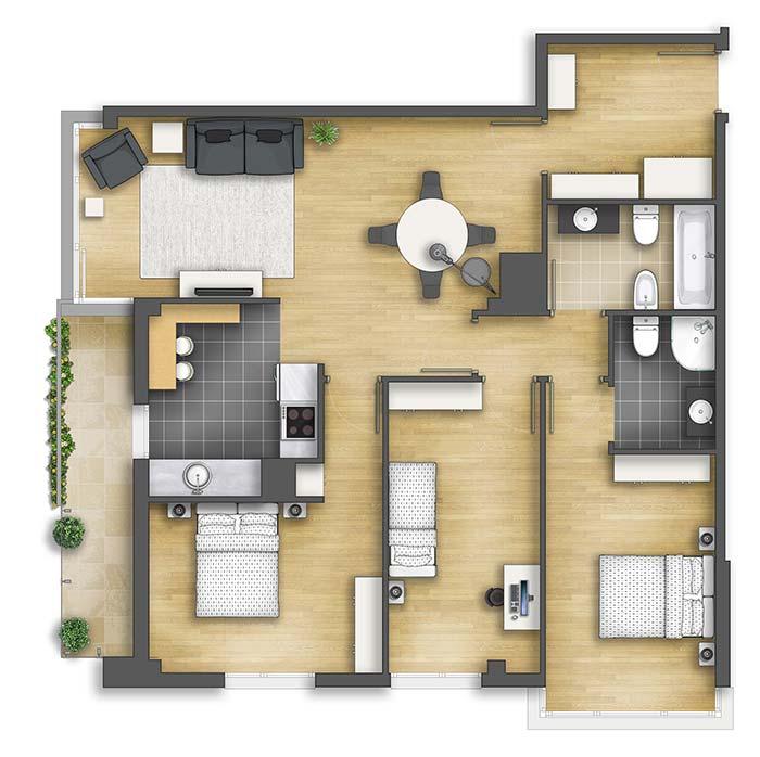 Apartamento com quartos amplos