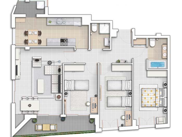 Planta de apartamentos com 3 quartos um ao lado do outro
