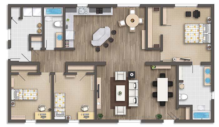Planta de apartamento 3 quartos com cozinha gourmet