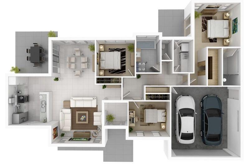 Planta de casa com 3 quartos 3D