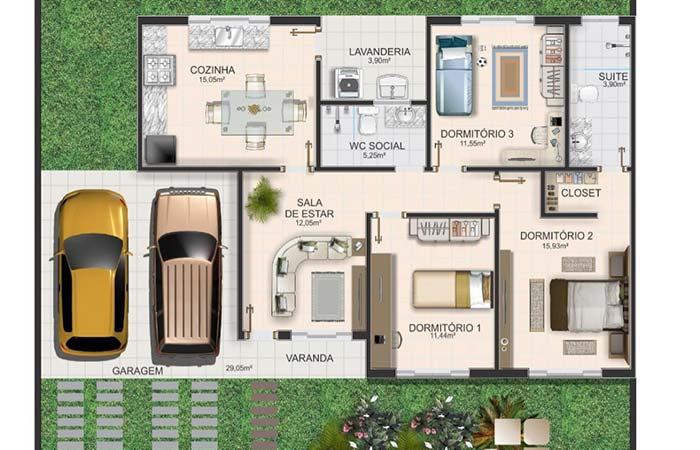 Planta de casa com 3 quartos e entrada pela garagem
