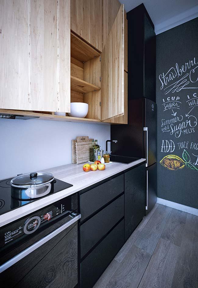 Papel lousa na cozinha preta