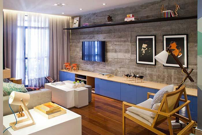 Luminária de madeira em decoração moderna para sala