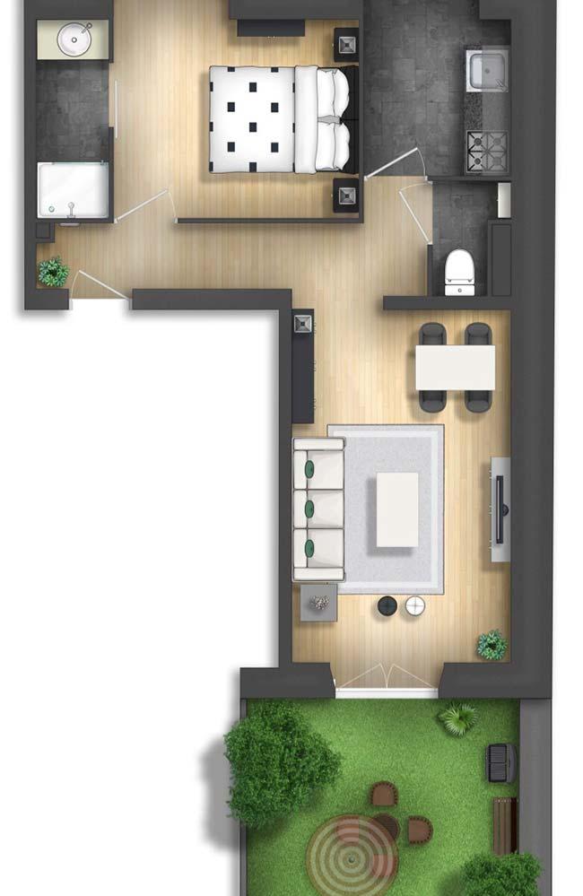 Planta de casa pequena com uma suíte, sala de jantar e estar integradas