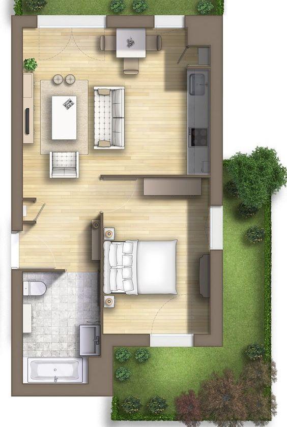 Planta de casa pequena com quase todos os ambientes integrados
