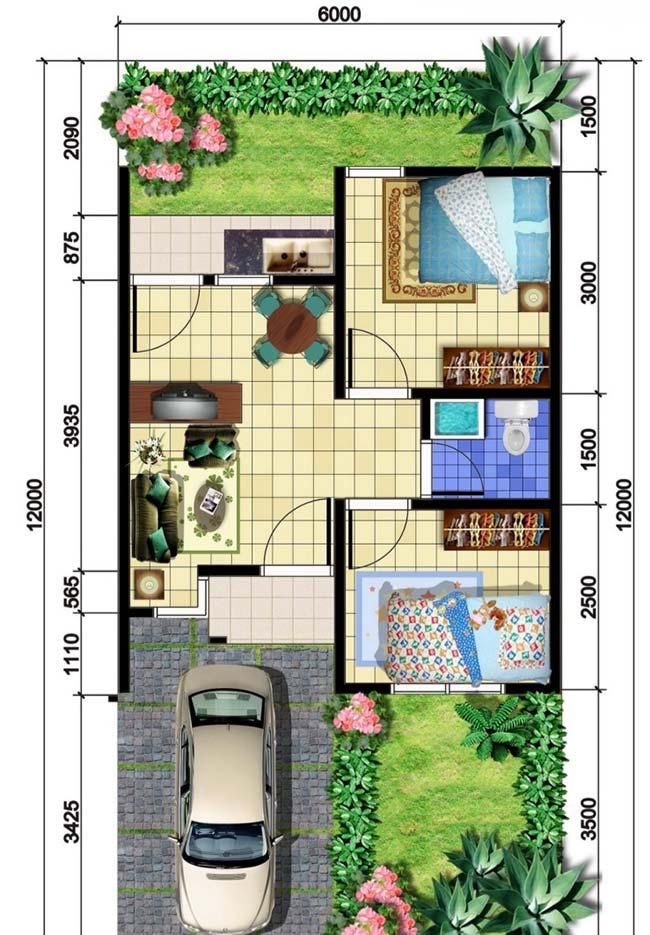 Planta de casa pequena com dois quartos, quintal e garagem