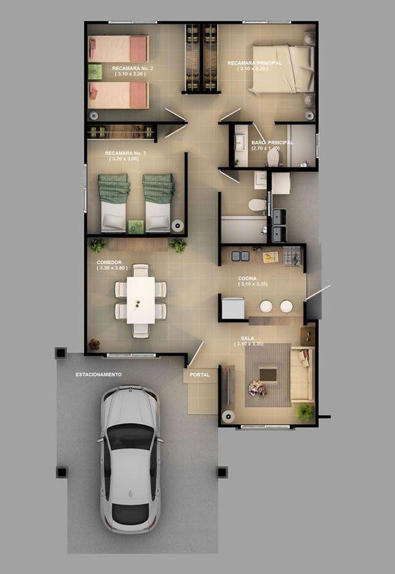 Planta de casa com 3 quartos e cozinha americana