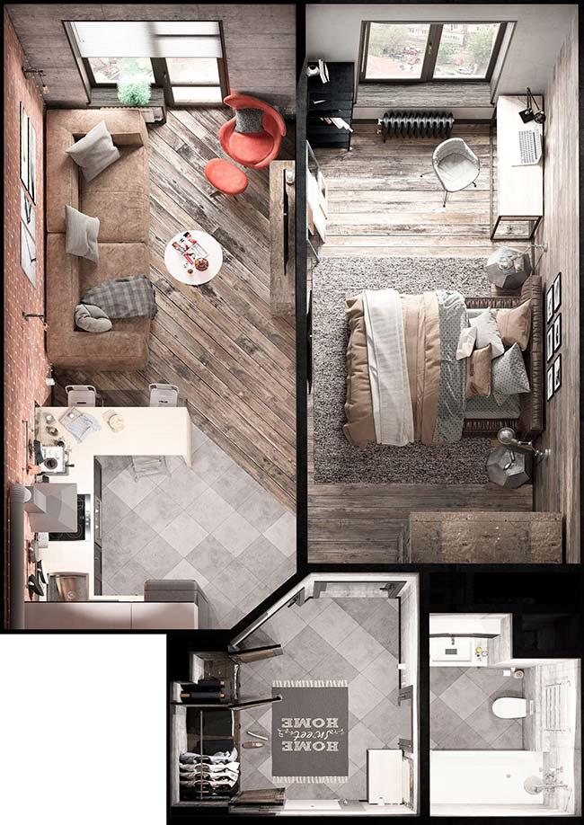 Planta de casa pequena com apenas um quarto