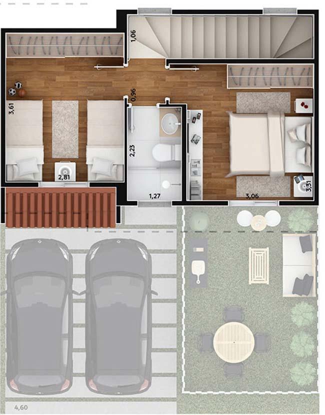 Piso superior com dois dormitórios e um banheiro compartilhado