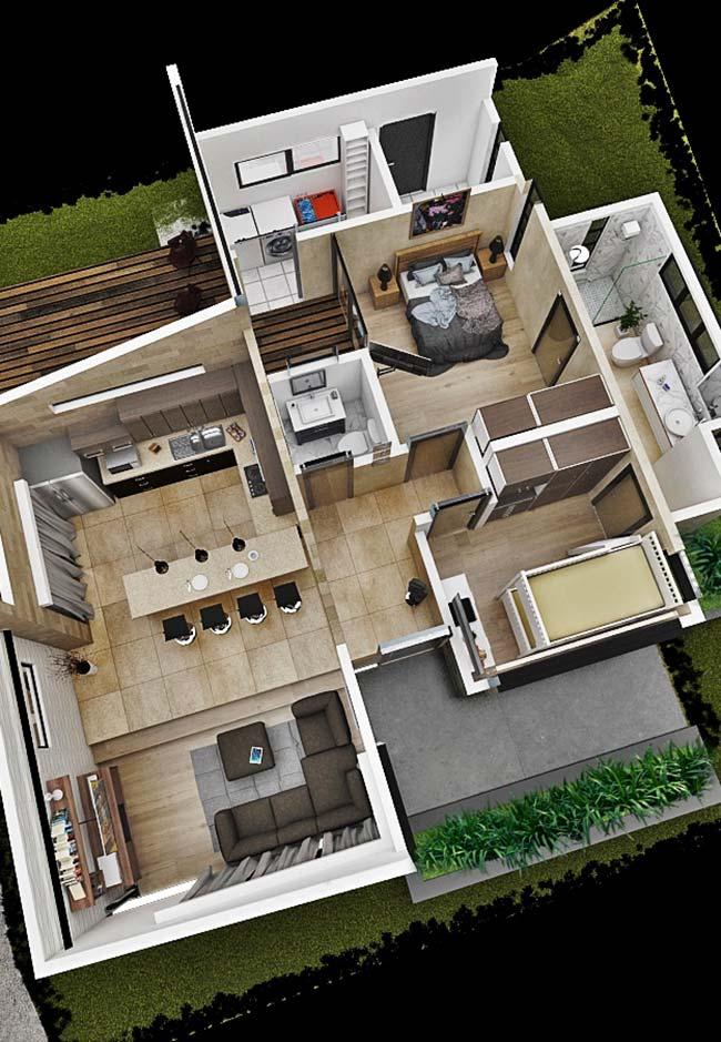 Planta de casa pequena 3D