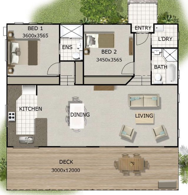 Planta de casa com um quarto de casal e um quarto de solteiro
