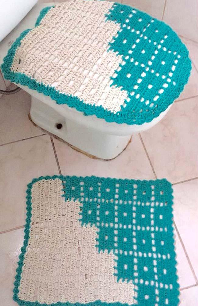 Jogo de banheiro de crochê dual color azul e branco