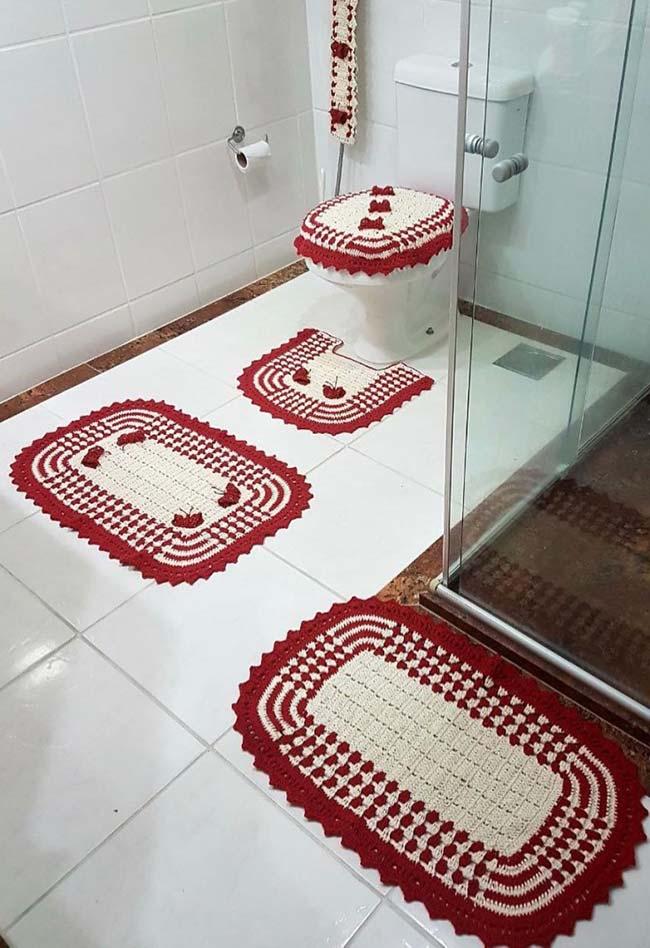 Conjunto de banheiro dual color em crochê