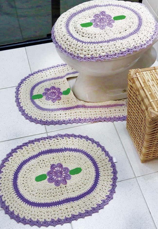 Jogo de banheiro lilás e branco dual color