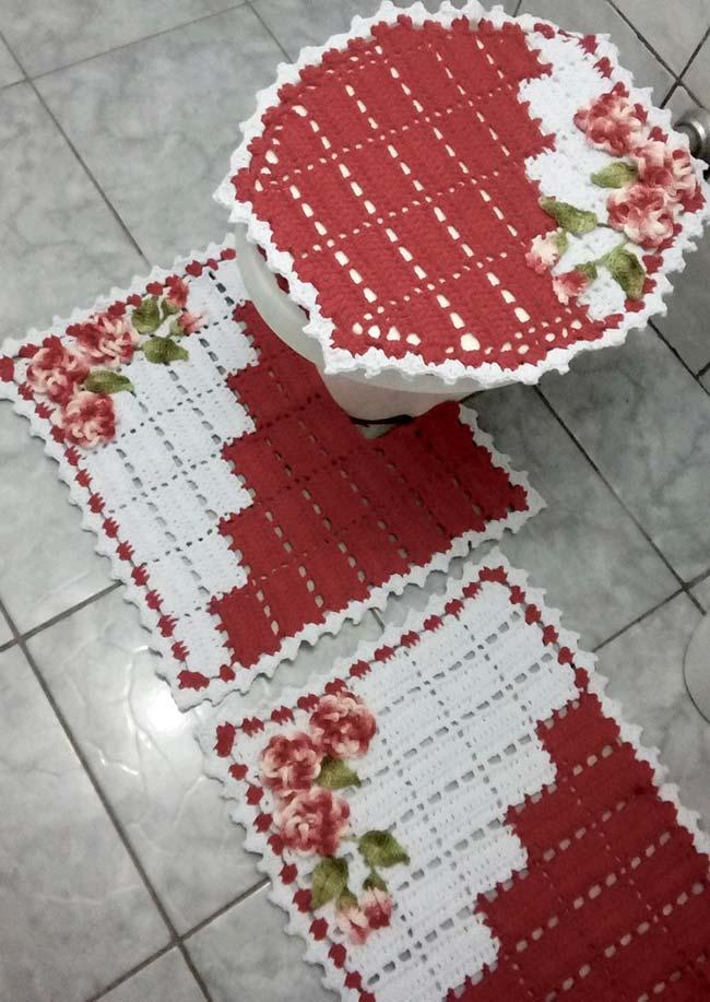 Jogo de banheiro de crochê dual color com desenho em diagonal
