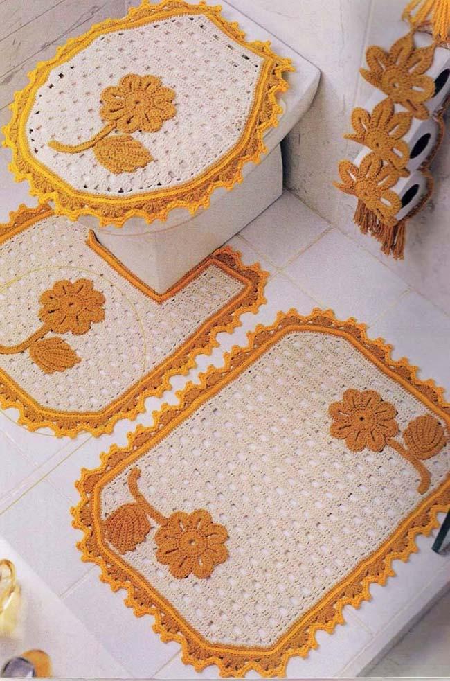 Jogo de banheiro dual color: amarelo ouro e barbante cru
