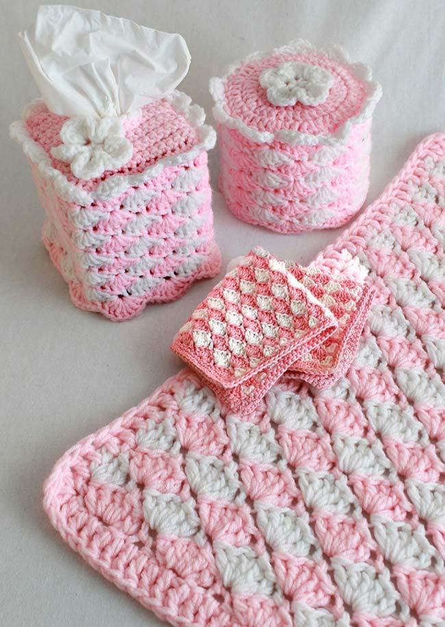 kit de higiene para bebês feito em crochê duas cores