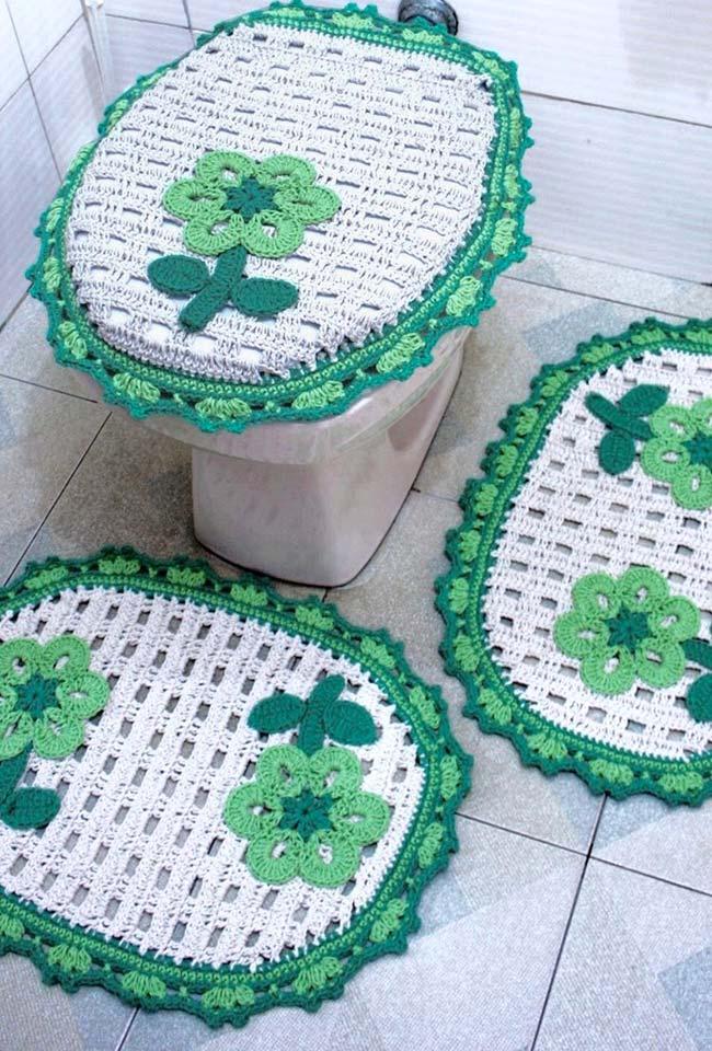 Jogo de banheiro dual color verde e branco