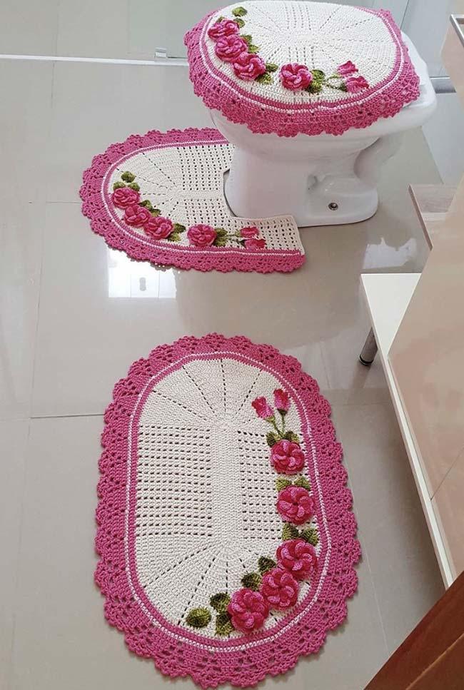 jogo de banheiro dual color branco e rosa