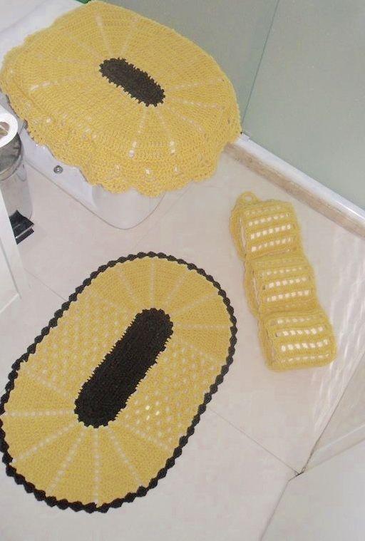 Jogo de banheiro dual color amarelo e marrom