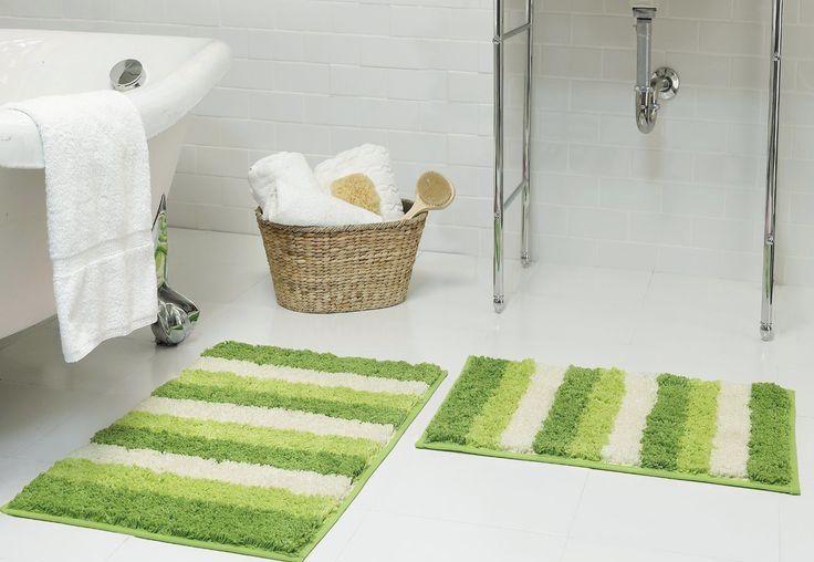Tapete de banheiro dual color verde e branco