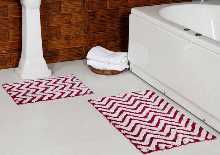 Jogo de banheiro dual color: vermelho e branco