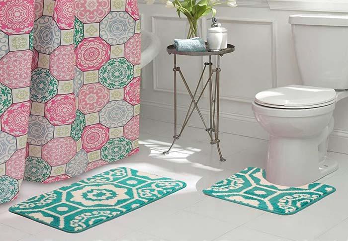 Conjunto de banheiro dual color azul e branco