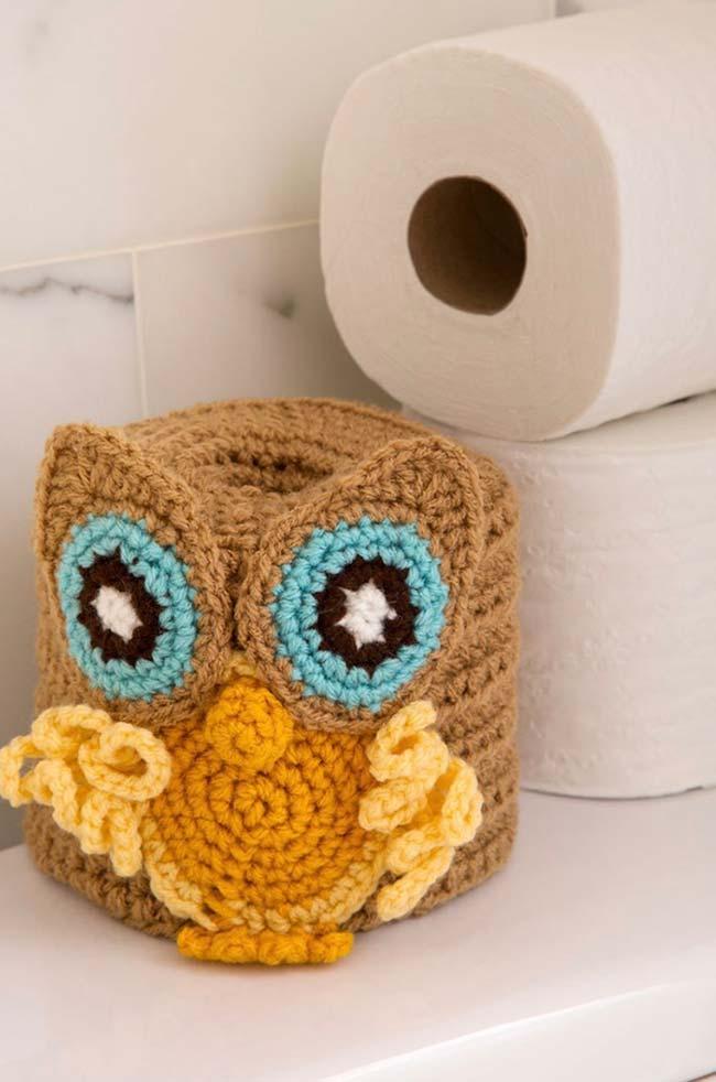 Porta papel higiênico de crochê coruja