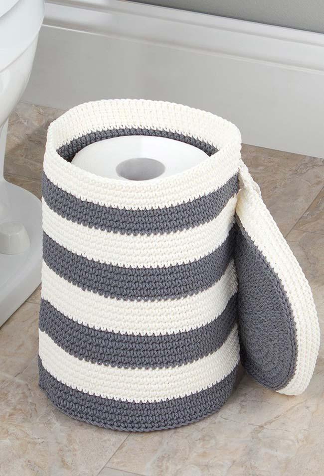 Porta papel higiênico de crochê de chão e com tampa